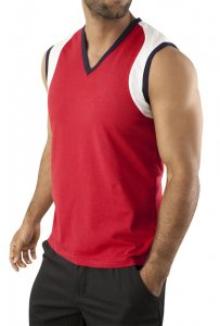Vuthy V Neck Muscle Top T Shirt Red 238