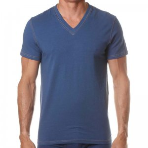 Levi's V Neck Short Sleeved T Shirt Ensign Blue ULV3LN10100
