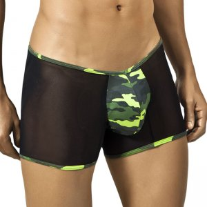 Candyman Side & Back Mesh Camouflage Boxer Brief Underwear Black/Green 9684