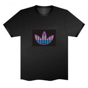 LED Electro Luminescence Lotus Equalizer Funny Gadgets Rave Party Disco Light T Shirt Black 32015