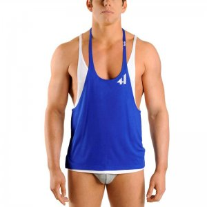 4 Hunks Double Tank Top T Shirt Royal Blue DT1