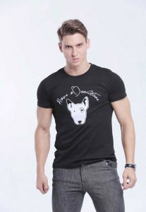 Spy Henry Lau Doggy Embroidery Short Sleeved T Shirt Black PH498MTE