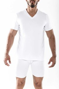 MaleBasics Everyday Prima V Neck Short Sleeved T Shirt White MB104