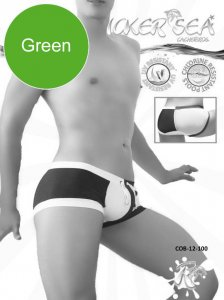 Icker Sea Chess Duotone Square Cut Trunk Swimwear Green/Whit...