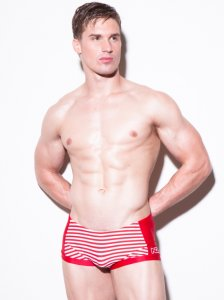 N2N Bodywear Nautique Square Cut Trunk Swimwear Red PT3