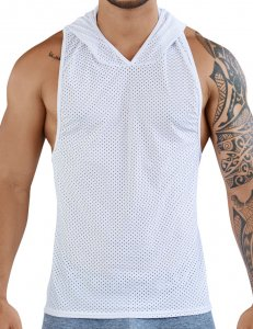 Clever Aster Hooded Tank Top T Shirt White 7029