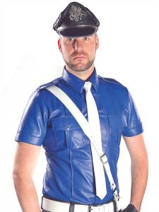Mister B Sheep Skin Leather Police Short Sleeved Shirt Blue ...