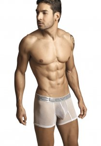 Clever Desire Stripe Net Boxer Brief Underwear White 2121