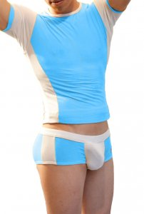 Icker Sea Matching T Shirt & Boxer Brief Set Turquoise & White COR-16-04
