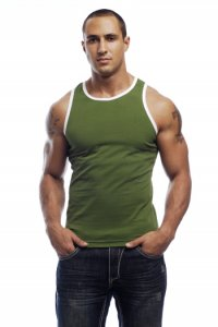 Go Softwear California Colors Cotton Lycra Tank Top T Shirt Green/White 2005