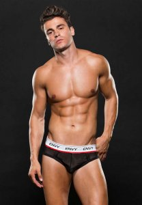 Envy Logo Elastic Low Rise Mesh Jock Brief Jock Strap Underwear Black E048