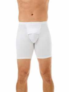 Underworks Shapewear Ultra Light Compression Cotton Spandex Long Boxer Brief Underwear White 579100