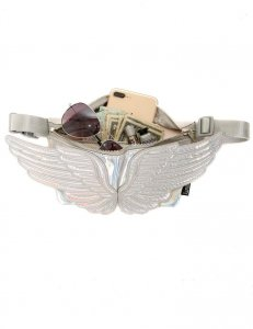 Fydelity Wings Ultra Slim Fanny Pack Bag Silver 81017