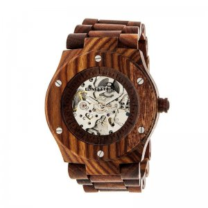 Earth Wood Grand Mesa Automatic Skeleton Bracelet Watch - Red ETHEW3103