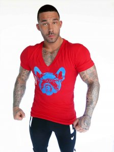 Bullywear Big Dog Two V Neck Short Sleeved T Shirt Red SST19-VN