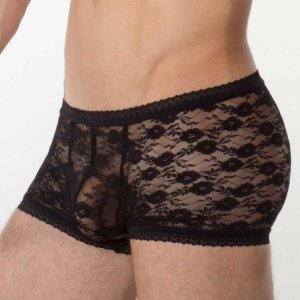 Bum-Chums Lace Hipster Boxer Brief Underwear Black