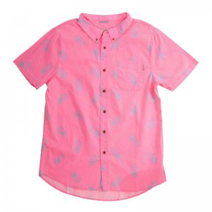 Party Pants Pin Line Apple Button Down Short Sleeved Shirt Neon Pink PS191111