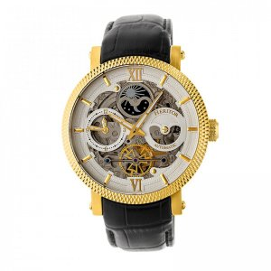 Heritor Automatic Aries Skeleton Leather-Band Watch - Gold/S...