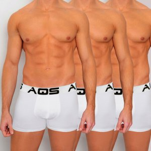 AQS [3 pack] Sport Boxer Brief Underwear White SWWW