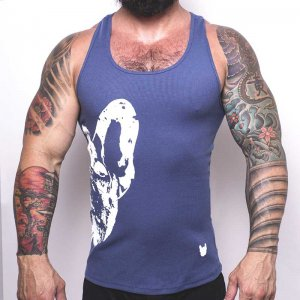 Bullywear Half Dog Tank Top T Shirt Blue/Grey/White DJ75TT