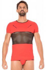 Lookme Mesh Panel Zipper Short Sleeved T Shirt Red 2004-81