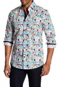 Suslo Couture Rock N Roll Button Down Long Sleeved Shirt