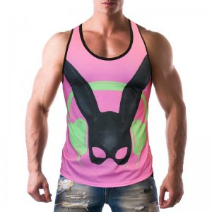 Gian Gianni Rabbit Tank Top T Shirt Pink
