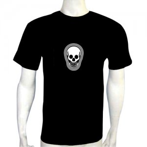 LED Electro Luminescence Skull Funny Gadgets Rave Party Disco Light T Shirt 12342