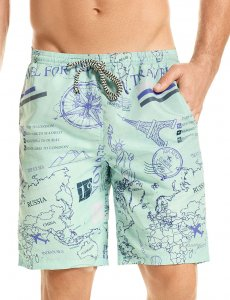 Hawai World Map Boardshorts Beachwear Blue 51903