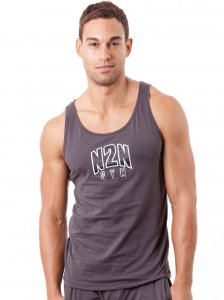 N2N Bodywear Basic Gym Tank Top T Shirt Charcoal BG3