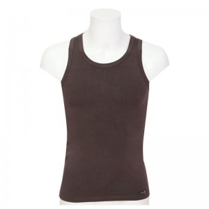 Minerva Sporties Bamboo Vest Muscle Top T Shirt Dark Brown 10720