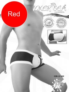 Icker Sea Chess Duotone Square Cut Trunk Swimwear Red/White ...