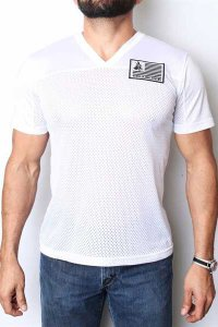 CellBlock 13 Blindside Jersey V Neck Short Sleeved T Shirt White CBS011