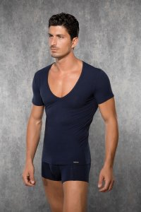 Doreanse Deep V Neck Short Sleeved T Shirt Navy Blue 2820