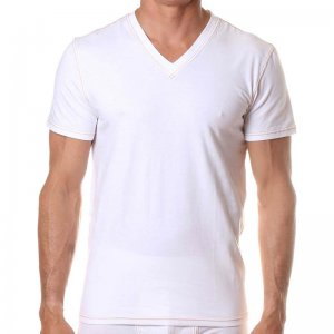 Levi's V Neck Short Sleeved T Shirt Bright White ULV3LN10100