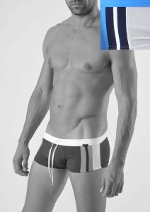 Geronimo Square Cut Trunk Swimwear White 1322B2