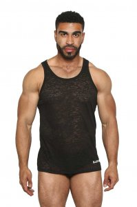 Black Unicorn Sheer & Sexy Burn Out Tank Top T Shirt Black B...