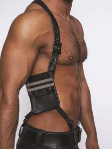 Mister B Leather Wallet Harness Black/Grey 601306