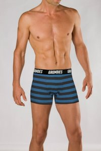 Grundies Stripe Boxer Brief Underwear Blue/Grey Marle