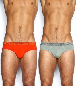 C-IN2 [2 Pack] Low No Show Brief Underwear Wild Fire & Chain Grey 1213J