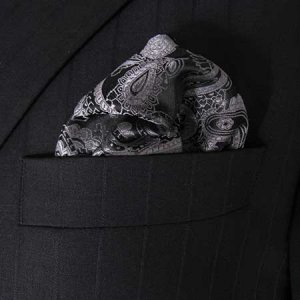 Distino Of Melbourne Paisley Pocket Square Handkerchief Blac...