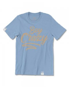 The Well Branded Boy Crazy Classix 100% Cotton Short Sleeved T Shirt Faded Denim