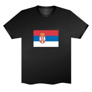 LED Electro Luminescence Flag Of Serbia Funny Gadgets Rave Party Disco Light T Shirt Black 31803