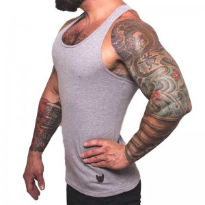 Bullywear Fitted Designer Tank Top T Shirt Grey SSTDT48