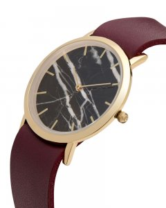 Analog Watch Classic Black Marble Dial & Cherry Strap Watch ...