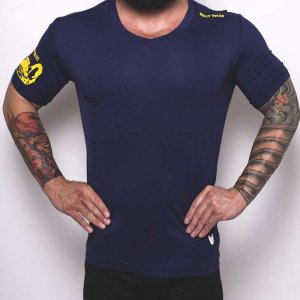 Bullywear Super Dry V Neck Short Sleeved T Shirt Navy/Yellow DRYVN3