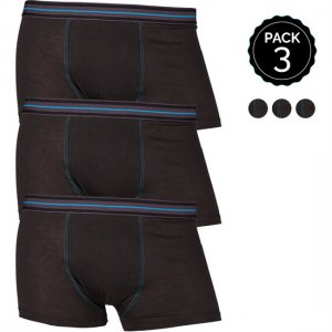 Marginal [3 Pack] Contrast Stitching Boxer Brief Underwear Black T012-5