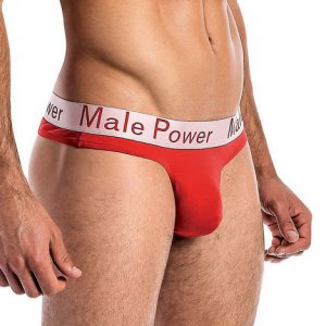 Male Power Modal Basics Lo Rise Thong Underwear Red 438-227