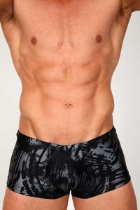 Pistol Pete Ice Midcut Square Cut Trunk Swimwear Black MC505-165