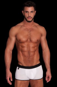 Jamie Button Solid Boxer Brief Underwear White/Black